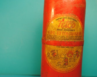 1930s TETCO FULL  7 inch Red Vintage Fire Extinguisher Unit patina on top but pretty nice shape tool industrial chic manly man