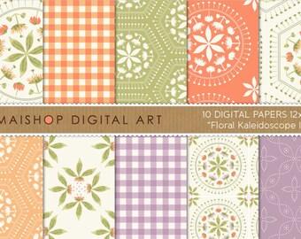 Digital Paper 'Floral Kaleidoscope III' Green, Lilac, Orange... Scrapbook Papers for Scrapbooking, Prints, Invitations, Card Making...