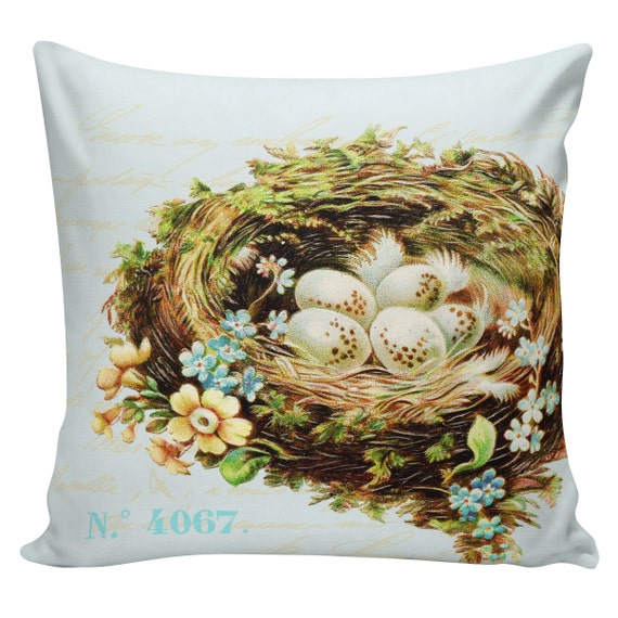 Items similar to Spring Pillow Vintage French Pillow Botanical Eggs Nest Burlap Cotton Throw ...