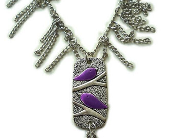 Jewelry Set 415-5 - necklace & earrings - stud earrings - charm  purple necklace - jewelry gift - chain necklace - birds necklace - pendants
