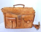 Distressed Vintage Leather Messenger Bag Laptop Satchel