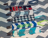 Personalized Pacifier Clip, Monogrammed Paci Holder, Fabric Binky Clip