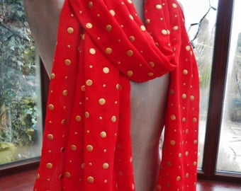 lovely large red gold spotted boho chiffon silk wrap or scarf
