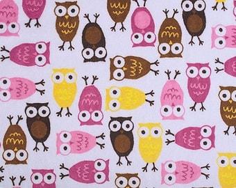 Minky by Robert Kaufman Night Owls in Mango/Chocolate 1 yard Shannon Fabrics