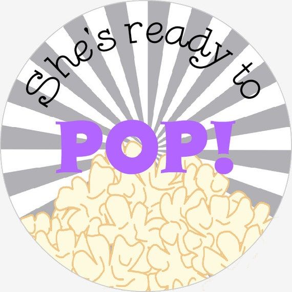 She39s ready to pop 25 favor stickers purple gray for Shes ready to pop stickers