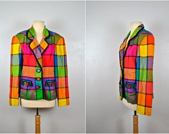 Colorful Plaid Jacket, Vintage Plaid Jacket