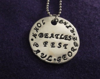 Beatles pendant with all the Beatles names necklace