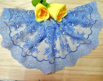 """DN634-6"""" Blue  Embroidered  Tulle Mesh Lace/Bridal/Lolita/  Trim by Yard"""
