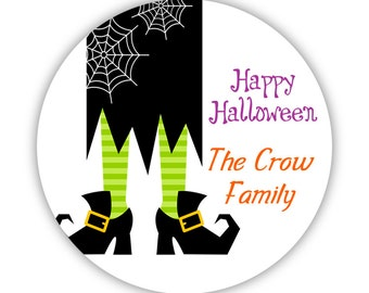 Halloween Stickers - Black and Lime Green, Little October Halloween Witch Legs Personalized Birthday Party Stickers - Round Sticker Labels