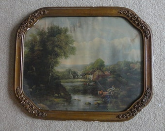 Antique Carved Wooden Frame with Nature Print