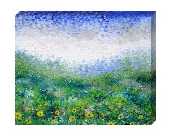 Signed Pre-Stretched Giclee PRINT On CANVAS of Original Yellow Textured Sun Flowers Painting - Sunflower Morning - Customer Chooses Size
