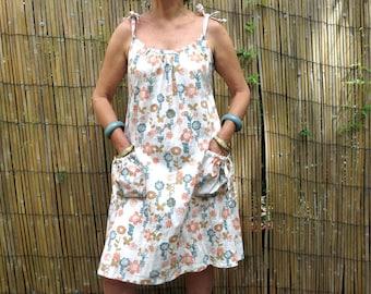 Cotton Sundress, Linen Clothing, Floral  print, Genuine handmade, Summer dress, Natural fibre, Maternity dress.