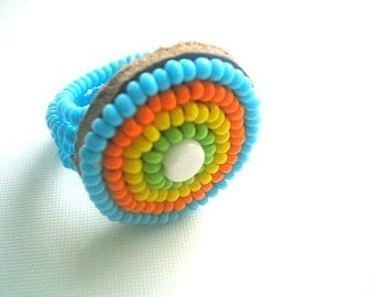 Native Seed Bead Ring Stretch Ring Handmade One Size Hippie Boho
