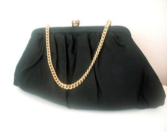 Black Satin Evening Handbag or Clutch Purse by Beau Sac Made In USA