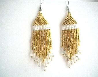 Native Style Gold Glass Bead Chandelier Fringe Earrings Handmade