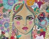 Printable Bohemian wall art, instant wall decor, bohemian flower girl, gypsy girl, hippie art, flower illustration whimsical girl, art