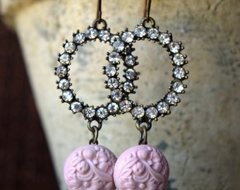 Pretty in Pink and Rhinestones Wire Earrings