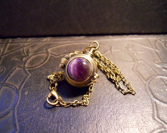 Amethyst Latched Wish Box Poison Hidden Locket Necklace
