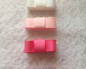 """4 Girls Pink Velcro Set Lot Boutique Hair Bow Small Mini Clip 1"""" Tie Bow Ready to Ship"""