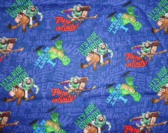 Blue Toy Story/Buzz and Woody Cotton Fabric by the Yard