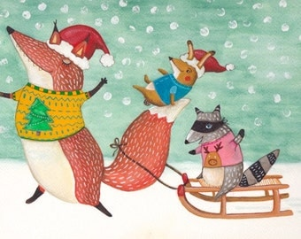 Woodland christmas postcards with animals in the snow x 5