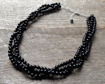 SALE Black Pearl Necklace Bridal Necklace Three Strand Braided Cluster on Silver or Gold Chain