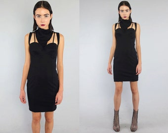 Vtg 90s Black Cage Bustier Cutout Grunge Bandage Mini Dress M L