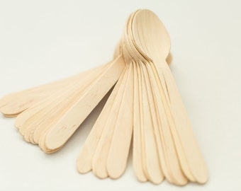 150 Disposable Wooden Spoons – Eco-Friendly Spoons for Ice Cream