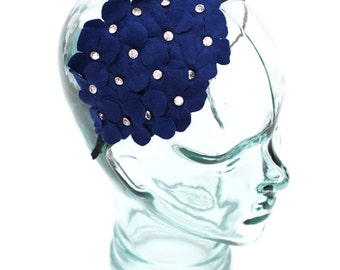 Headband accented with a felt flower and jewels, color Royal Blue