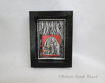 """Altered Book as Fairy Door """"Your Dreams""""  framed to 6 X 8"""