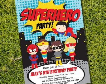 Superhero Party Invitation - Instantly Downloadable and Editable File - Personalize and Print at home with Adobe Reader