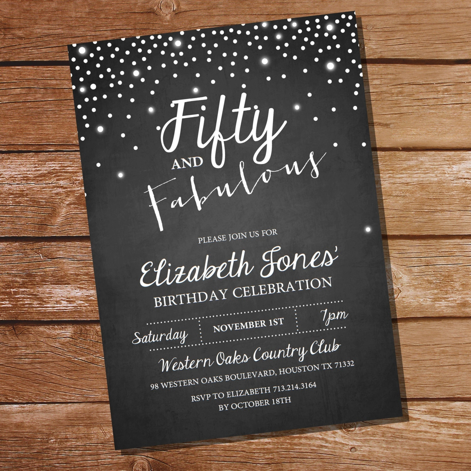 Fifty and Fabulous Chalkboard Birthday Invitation th th