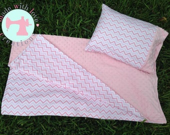 Pink Chevron Blanket and travel pillow case