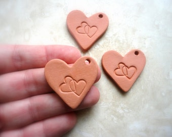 Double Heart Pendant Aromatherapy Essential Scented Oil Diffuser Pendant Terra Cotta Bisque Ceramic Unglazed Anxiety relief Mothers Day Gift