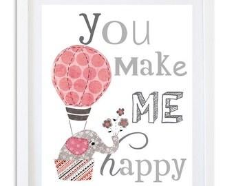 Nursery art Print, pink and grey nursery decor, kids room wall art, elephant Quote print - You make me happy