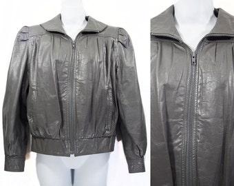 Vintage 80's SPLIT END LTD. Gray Leather Jacket Sz. 7/8