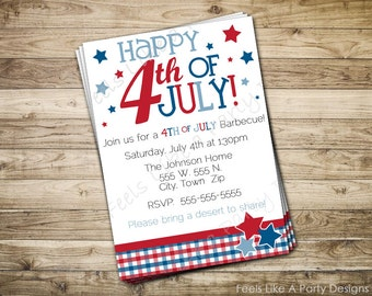 Custom Patriotic 4th of July Invite