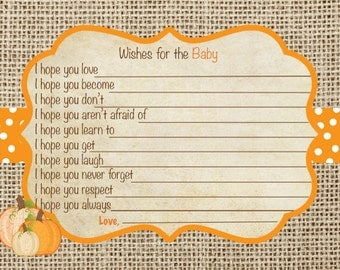 Pumpkin Wishes for Baby Card,  Digital File, Printable