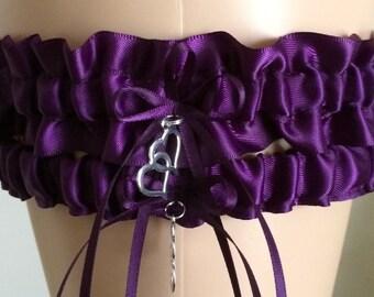 Wedding Garter, Bridal Garter Sets, Purple/Plum Wedding Garter Set, Keepsake Garter,