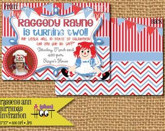 Raggedy Ann Birthday Party Invitation (5x7, DIY, Printable)
