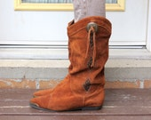 80's Leather Riding Boots Leather Cowboy Tribal Print Made in Canada Women's Size 7.5