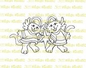 Angel Cats with Star Digital Stamp Instant Download
