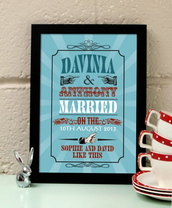 Personalised Vintage Likes Wedding art print. Wedding gift.