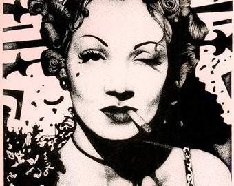 Marlene Dietrich Pen and Ink Illustration Prints