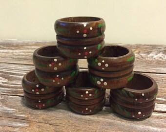 6 Vintage Wood Napkin Rings Handpainted Swedish