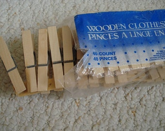 Wooden Clip Clothespins, Lot of 22, New on card, Wood Spring Clothes Pegs