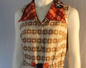 Hawaiian Barkcloth Vintage Long Maxi Dress, Made by Malihini Hawaii, Tribal