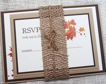 Rustic Wedding Invitation, Rustic  Burlap Invitation, Barn, Country or Fall Wedding