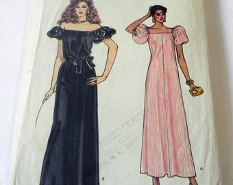 """1980s Evening Gown Prom Dress off the shoulder puff sleeves maxi sewing pattern Vogue 8492 Size 6 Bust 30.5"""""""