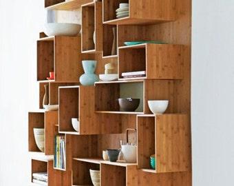 Modern cubic shelf bookcases wall units open wood shelves shelving DIY expandable Re-creation modular crate box